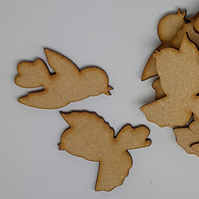 MDF Bird Pair B 4cm - 10 x Laser cut wooden shape (5 pairs)