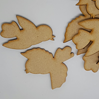 MDF Bird Pair B 5cm - 10 x Laser cut wooden shape (5 pairs)