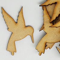 MDF Hummingbird 5cm - 10 x Laser cut wooden shape