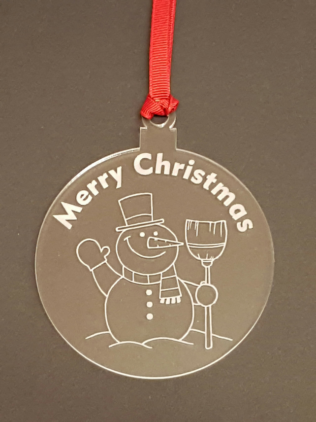 Acrylic Christmas Xmas Bauble Merry Christmas Snowman- Clear