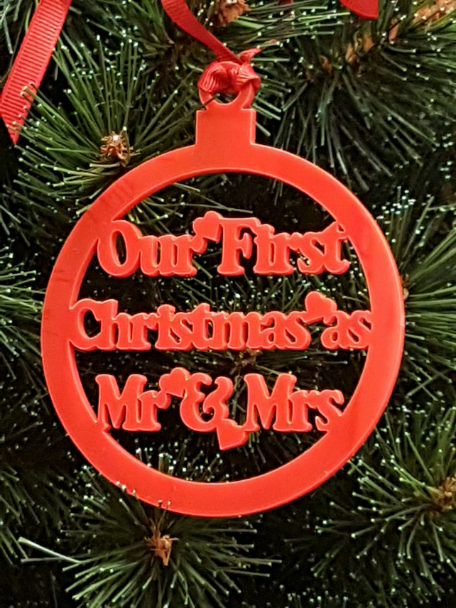 Acrylic Christmas Xmas Bauble Mr and Mrs First Christmas