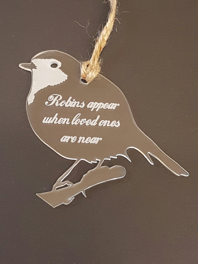 Acrylic Christmas Xmas Remembrance Bauble Robins Appear - Clear