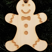 Birch Christmas Xmas Bauble Gingerbread Man - Laser cut wooden shape
