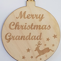 Birch Christmas Xmas Bauble Merry Christmas Grandad - Laser cut wooden shape