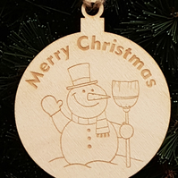 Birch Christmas Xmas Bauble Merry Christmas Snowman- Laser cut wooden shape
