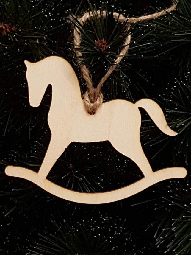 Birch Christmas Xmas Bauble Rocking Horse - Laser cut wooden shape
