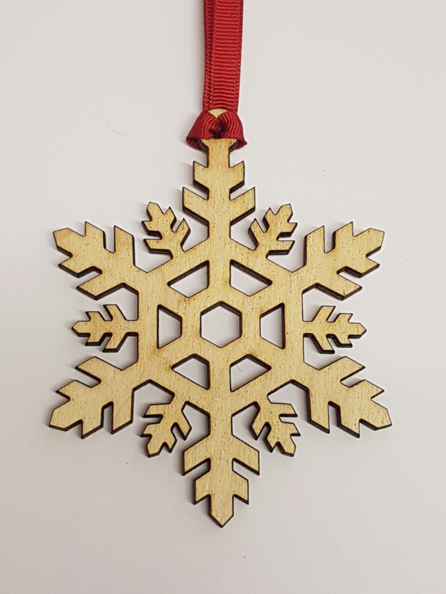 Birch Christmas Xmas Bauble Snowflake - Laser cut wooden shape