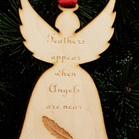 Birch Christmas Xmas Remembrance Bauble Angel Feather - Laser cut wooden shape