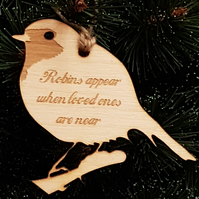 Birch Christmas Xmas Remembrance Bauble Robins Appear - Laser cut wooden shape