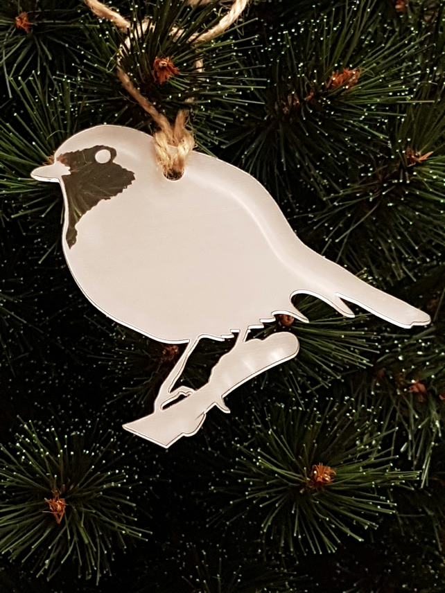 Acrylic Christmas Xmas Bauble Etched Robin - Clear