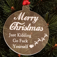 Acrylic Christmas Xmas Bauble Merry Christmas Swearing - Clear