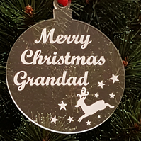 Acrylic Christmas Xmas Bauble Merry Christmas Grandad - Clear