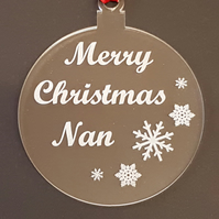 Acrylic Christmas Xmas Bauble Merry Christmas Nan - Clear