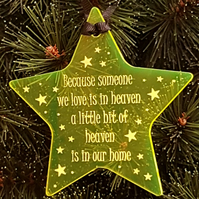 Acrylic Christmas Xmas Remembrance Bauble Star Heaven