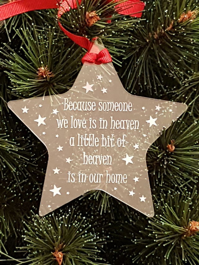 Acrylic Christmas Xmas Remembrance Bauble Star Heaven - Clear
