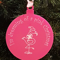 Acrylic Christmas Xmas Bauble Flamingo Pink Christmas - Pink