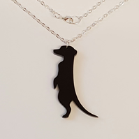 Meerkat Necklace - Black Acrylic