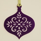 Acrylic Christmas Xmas Bauble Flower Pattern A - Purple