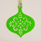 Acrylic Christmas Xmas Bauble Flower Pattern A - Light Green