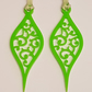 Acrylic Christmas Xmas Bauble Drop Swirl Pattern x 2 - Light Green