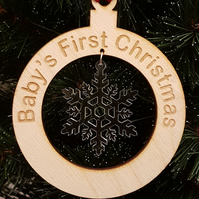 Birch and Acrylic Baby's First Christmas Snowflake Bauble