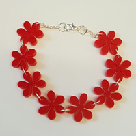 Flower Chain Bracelet - Acrylic Red