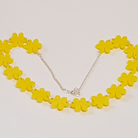 Flower Chain Necklace - Yellow Acrylic
