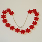 Flower Chain Necklace - Red Acrylic
