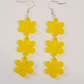 Flower Chain Earrings - Yellow Acrylic