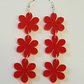 Flower Chain Earrings - Red Acrylic