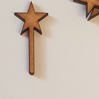 25 x Star Wand 3cm Craft Embellishment MDF Laser cut wooden shape