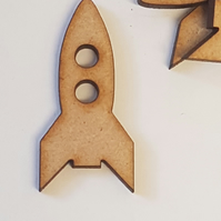 25 x MDF Space Rocket Ship 4cm - Laser cut wooden shape