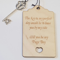 Birch Luggage Tag Will you be my Page Boy with Key - Laser cut wooden shape