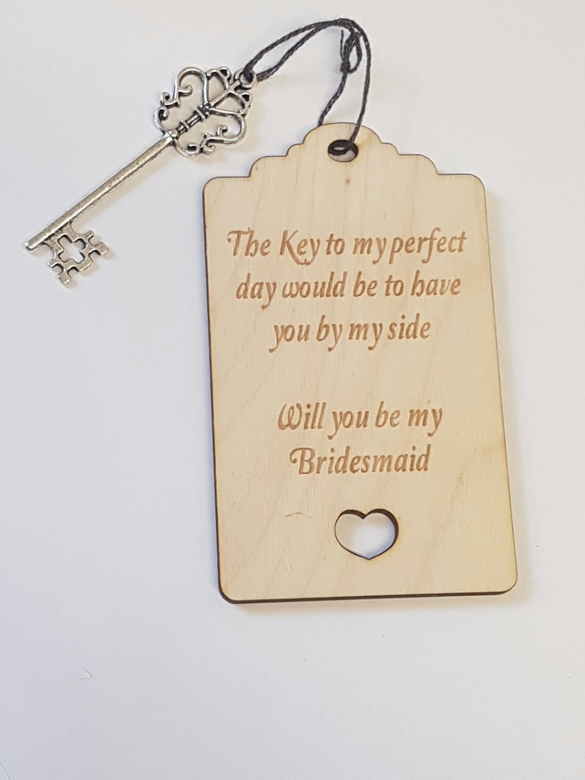 Birch Luggage Tag Will you be my Bridesmaid with Key - Laser cut wooden shape