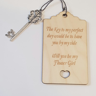 Birch Luggage Tag Will you be my Flower Girl with Key - Laser cut wooden shape