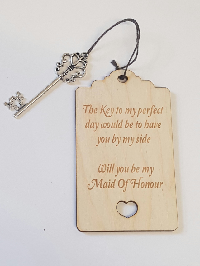 Birch Luggage Tag Will you be my Maid of Honour with Key - Laser cut wooden shap