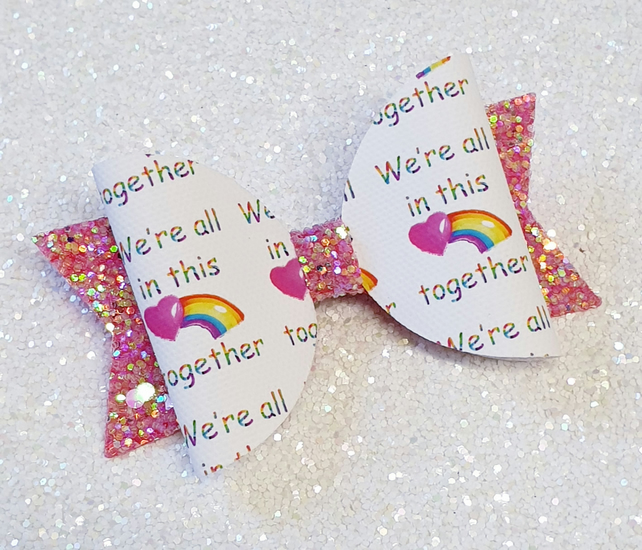 Rainbow in this Together Bow Clip