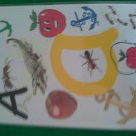 Plastic coated pages to help with the alphabet for pre-school children.