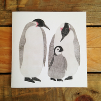 Pink Emperor Penguin Card