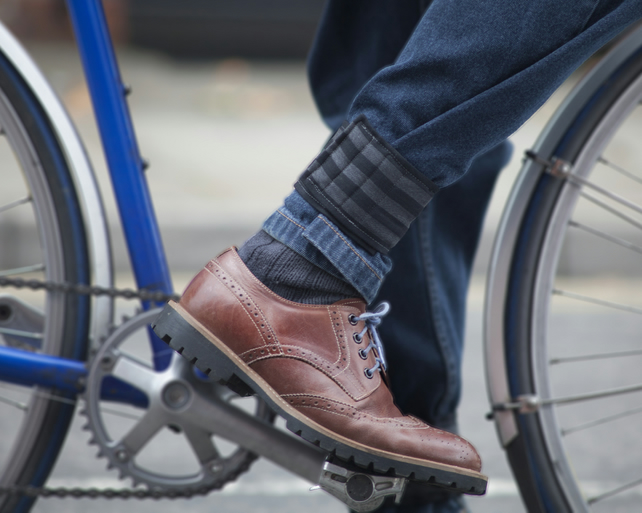 Trouser straps for commuter cyclists - stripy
