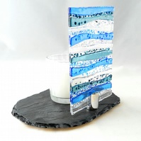 Blue fused glass candle or diffuser stand