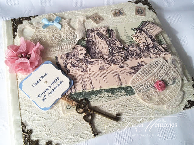 Vintage Alice in Wonderland inspired, Mad Hatters Tea Party Guest Book Journal