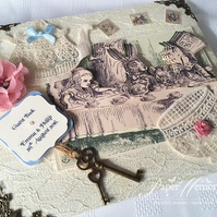 Vintage Alice in Wonderland inspired, Mad Hatters Tea Party Guest Book or Journa