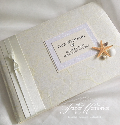 Beach Shells Starfish Wedding Guest Book