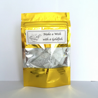 Personalised gift Goldfish shaped tea bag & your message printed Make a Wish