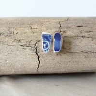 Upcycled sea pottery stud earings - lightweight studs - handmade gift for her