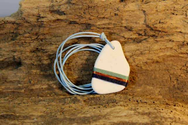 Sea pottery handmade pendant - upcycled gift for her - blue & copper necklace