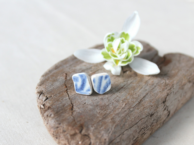 Upcycled sea pottery stud earings - blue ceramic earings - lightweight studs
