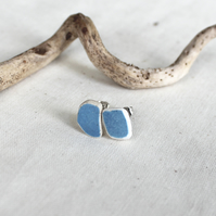 Minimalist stud earings - sea pottery - lightweight ceramic earings - blue