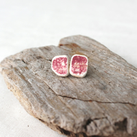 Upcycled sea pottery stud earings - red ceramic earings - lightweight studs
